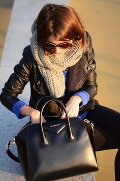 bold blue sweater + leather jacket + chunky scarf.