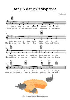 Sheet Music Of Sing A Song Of Sixpence With Chords And Lyrics: Sing a song of sixpence, a pocket full of rhye, four and twenty blackbirds baked in a pie. Kindergarten Songs, Preschool Songs, Preschool Prep, Preschool Education, Guitar Tabs And Chords, Japanese Language, Spanish Language, French Language, Elementary Music Lessons