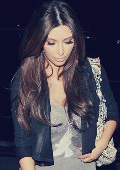 Kim Kardashian Shiny Sleek Hair With Middle Part Glowing Skin