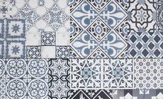 Sol stratifié TRENDTIME 4, carreau de ciment bleu, dalle 40 x 128,5 cm - Sol Stratifié - Collection Sol - Saint Maclou
