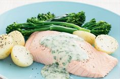 Poached salmon with lemon parsley sauce