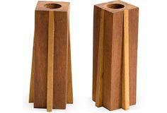 Midcentury Wood Candleholders, Pair on OneKingsLane.com