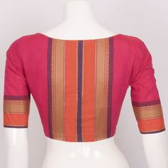 Hand Crafted Cotton Blouse With Lining & Long Sleeve 10015296 -fine size 38 Simple Blouse Designs, Stylish Blouse Design, Blouse Back Neck Designs, Kerala Saree Blouse Designs, Cotton Saree Blouse Designs, Saris, Sari Bluse, Women's Fashion, Fashion Sewing