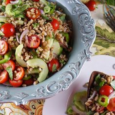 Vegan Farro & Roasted Sweet Potato Salad w/ Pine Nuts & Tahini-Sumac ...