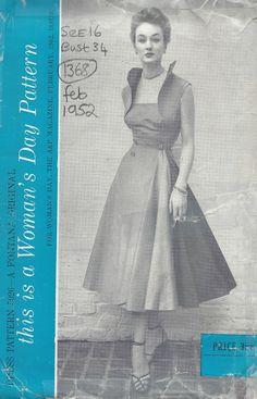 1952 Vintage Sewing Pattern B34 DRESS (1368) By Fontana #WOMANSDAYPATTERN
