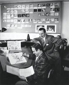 Walt Disney with Ward Kimball during production of Alice in Wonderland