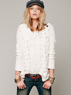 Free People Oversized Cable Poncho, $168.00