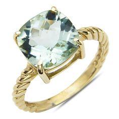 Green Amethyst Fashion Ring 10k Yellow Gold Nissoni Jewelry…