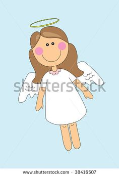 illustration of nice angel girl over blue background, cartoon by monbibi, via Shutterstock