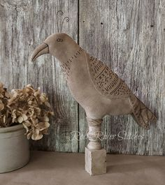 Primitive Folk Art Bird, Primitive Make Do, Soft Sculpture, Primitive Bird, Home Decor, Farmhouse Decor, Shabby Chippy Paint