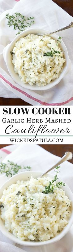 Slow Cooker Garlic Herb Mashed Cauliflower - A great paleo side dish! The BEST! Slow Cooker Recipes, Vegetarian Recipes, Cooking Recipes, Healthy Recipes, Paleo Food, Healthy Food, Paleo Side Dishes, Clean Eating, Healthy Eating