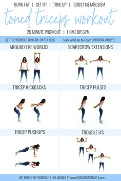 Workout Exercise - Get toned triceps quickly with this tricep home workout for women. This tricep home workout for women has the best exercises to tone triceps quickly. Get Toned, Toned Arms, Tone It Up, Tricep Workout Routine, Tummy Workout, Fat Workout, Abdominal Workout, Boxing Workout, Bodyweight Arm Workout