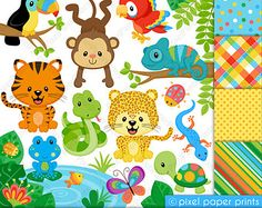 Sweet Rainbow Animals Clipart Clip Art and von pixelpaperprints