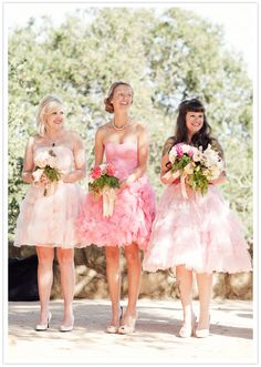 pink vintage bridesmaid dresses