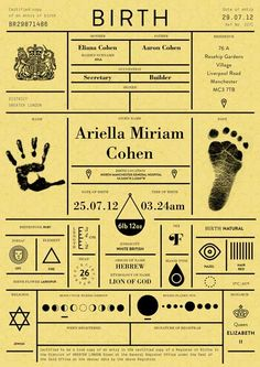 Birth certificates redesigned as a personal infographic: East London studio IWANT has overhauled the birth certificate to bring it into the digital age and make it more personal. Other details including astrological, astronomical and etymological facts are also included, plus mapping coordinates for location of birth are added to the digital version.