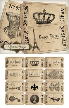 """Paris Tickets - Vintage Style Tickets with Paris related images. You get: ° 12 high quality (300 dpi) 3.10 x 1.86 inch images on one 8.5"""" x 11"""" sheet for easy printing ° in a zip folder - you need ..."""