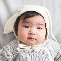 Organic Baby Bunny Bonnet - blue