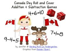 Here's a freebie in honor of Canada Day! These are great activities for math centers. Students practice their addition or subtraction while playing in pairs. Just give them some tokens or two bingo daubers and a set of dice and they are ready to go! Subtraction Games, Addition And Subtraction, Math Games, Math Activities, Canada For Kids, Canada Day, Teachers Pay Teachers Freebies, Teaching Math, Teaching Ideas