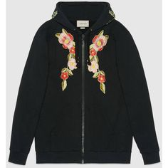Gucci Embroidered Hooded Sweatshirt ($2,600) ❤ liked on Polyvore featuring tops, hoodies, sweaters, jackets, ready to wear, sweatshirts & t-shirts, women, sweatshirt hoodies, oversized hoodie and print hoodie