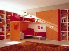 Double Loft Beds for Girls Bedroom Design Ideas Red Double Loft Beds for Girls Bedroom Design Idea By Berloni – Home Designs and Pictures. I think its so pretty because of the bright red and orange colors Bunk Bed Rooms, Girls Bunk Beds, Cool Bunk Beds, Girls Bedroom, Childrens Bedroom, Bedroom Loft, Bedroom Small, Bedroom Modern, Trendy Bedroom