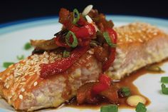 Sesame Roasted Salmon with Sweet & Spicy Rhubarb Sauce.