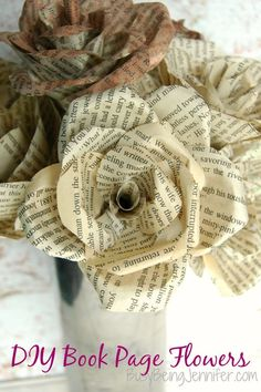 DIY Book Page Flowers - looks like fun crafts for our next craft night.