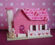 Valentine Putz style Village Glitter House by thesaltboxcollection