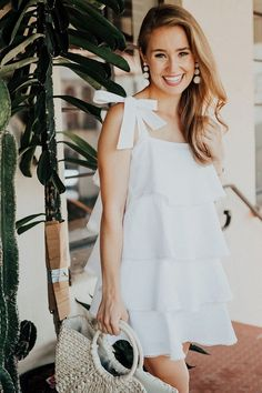 36 Make Your Amazing Day with White Ruffle Dress Cute Dresses, Casual Dresses, Short Dresses, Fashion Dresses, Summer Dresses, Casual Summer Outfits, White Outfits, Ruffle Dress, Dress Up