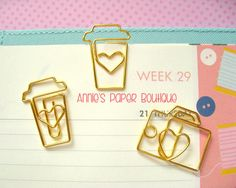 COFFEE Planner Clip - Use with Your Erin Condren, Carpe Diem, Filofax, Happy Planner, Travelers Notebook, Kate Spade, Gold Metal Paper Clip