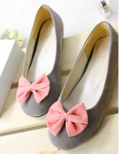 pink bow grey ballet flats