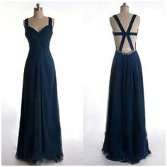 navy blue bridesmaid dresses.long bridesmaid by bridesmall on Etsy, $128.50