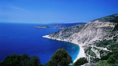 Lonely Planet: How to pick the right Greek island for you - Overhead of Myrtos beach on the east coast near Argostoli Bay. Travel Alone, New Travel, Spain Travel, Greece Travel, Thailand Travel, Greece Vacation, Travel Tips, Places To Travel, Places To See