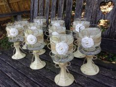 Rustic Wedding Centerpieces / Set of 5 / Shabby Chic Wedding Centerpieces / Burlap Jar Centerpieces