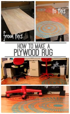 tutorial of how to make your own DIY Plywood Rug I just love this project idea (solution for rolling chairs on carpet) - Sugar Bee Crafts Home Projects, Craft Projects, Rolling Chair, Bee Crafts, Reno, Diy Desk, Plywood, Decoration, Diy Furniture