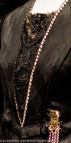 Closeup of Mrs. Hughes', the head housekeeper, dress on Downton Abbey