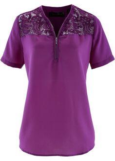 Bonprix Blouse, bpc selection kant details violet paars purple lace details