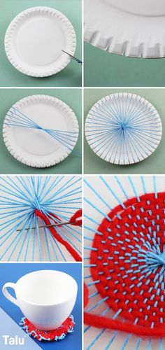 Basteln mit Wolle – 5 tolle Ideen mit Anleitung Weaving with paper plates – Instructions – Talu. Diy Crafts To Do, Crafts For Kids, Arts And Crafts, Diy Y Manualidades, Paper Plates, Handicraft, Diy For Kids, Lana, Diy Gifts