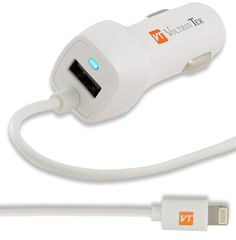 iPhone 6 Car Charger, VoltronTek Ultra Fast Travel Adapter with Extra Long Built-in Lightning Cable for iPhone 6S Plus 6 Plus SE 5S 5 5C iPad Pro Air Mini 2 3 4 and Extra USB Port for Android (White). FASTEST CHARGE with 2.1A lightning connector and extra 1.0A USB port that can charge two devices simultaneously at full speed. COMPATIBLE with iPhone 7/7 Plus, 6S/6 Plus, iPhone 6/6S, iPhone 5S/5, iPhone SE, iPhone 5c, iPad Air, iPad (4th generation), iPad mini with Retina display, iPad mini...