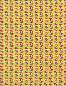 De stof vossen op geel flanel is een soepele warm geelkleurige flanel met een mini print van vossen. De vossen hebben een hoogte van ± 2 cm. Deze stof is ook verkrijgbaar in katoen.