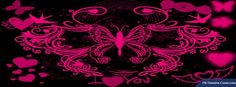 Black Pink Hearts Butterflies