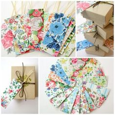 Fabric tags out of small florals.
