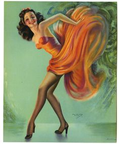VINTAGE 1940s BILLY DEVORSS PIN UP FIRE DANCER ART DECO LEGGY BRUNETTE MINT NR #ArtDeco