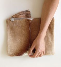 Springbok Zip Clutch with Leather Tassel by Mooi PRE-ORDER