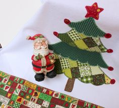 Christmas tree - kitchen towel - embroidered applique