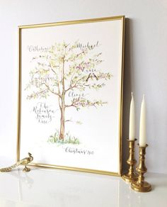 personalised handwritten calligraphy family tree print by calligraphy for weddings | notonthehighstreet.com
