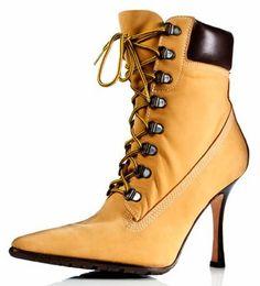 The original Manolo Blahnik Timberland Stiletto Boot #Booties #Shoes #Heels