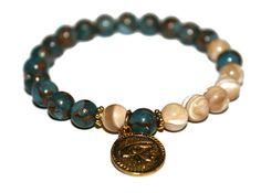 Blue Nepal & Sea Shell Bracelet Eye of Horus Bracelet #bracelet #healing #yoga #eyeofhorus #style #jewelry #meditation #gifts #giftsforher