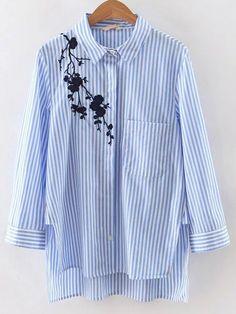 Синяя полосатая асимметричная блуза с вышивкой