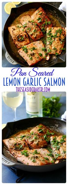 Quick and easy pan seared lemon garlic salmon that is full of flavor and ready in under 20 minutes!