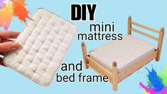 dollhouse miniature tutorials DIY Dollhouse Mattress and Bed Frame: Making Festers Bed Modern Dollhouse Furniture, Diy Barbie Furniture, Diy Furniture Couch, Miniature Furniture, Diy Dolls House Furniture, Barbie Furniture Tutorial, Kids Bedroom Furniture, Furniture Dolly, Furniture Stores